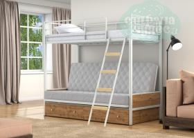 Кровать с серым диваном Дакар-2, белая-дуб вотан