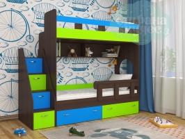 Кровать двухъярусная Ярофф Юниор 1, Венге+лайм+голубой