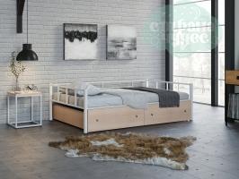 Кровать Арга, белая-дуб молочный