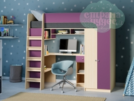Кровать-чердак Астра 10, фиолетовая