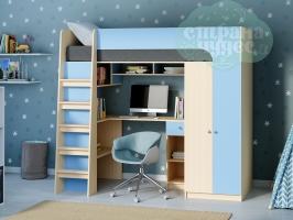 Кровать-чердак Астра 10, голубая