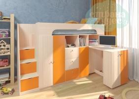Кровать-чердак Астра 11, оранжевый