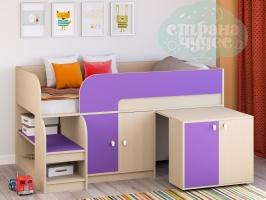 Кровать-чердак Астра 9.8, фиолетовая