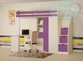 Кровать-чердак Астра М-85 со ступенями, фиолетовый