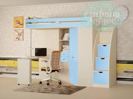 Кровать-чердак Астра М-85 со ступенями, голубая