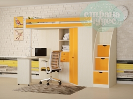 Кровать-чердак Астра М-85 со ступенями, оранжевый