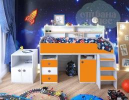 Кровать-чердак Ярофф Малыш-5, винтерберг - оранжевый