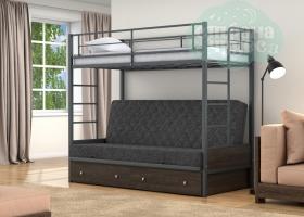 Кровать с темно-серым диваном Дакар-1, серая-венге