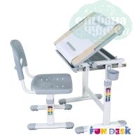 Комплект парта и стул-трансформеры FunDesk Bambino серый