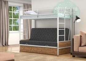 Кровать с темно-серым диваном Дакар-1, белая-дуб вотан