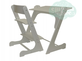 Растущая стол-парта со стулом Конёк Горбунёк, белый