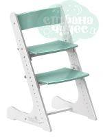 Регулируемый универсальный стул Конёк Горбунёк, белый-мятный