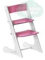 Регулируемый универсальный стул Конёк Горбунёк, бело-розовый