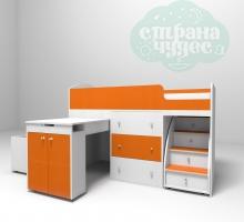 Кровать-чердак Ярофф Малыш, белый-оранжевый