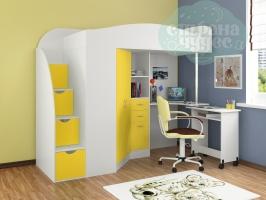 Кровать-чердак ФМ Теремок-1 Гранд, белый-желтый