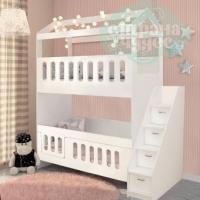 Кровать Домик двухъярусная со ступенями
