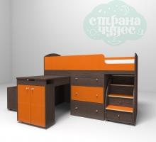 Кровать-чердак Ярофф Малыш, бодего-оранжевый