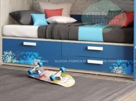 Кровать-диван Klюkva Junior BS05 с 3 ящиками, print Urban