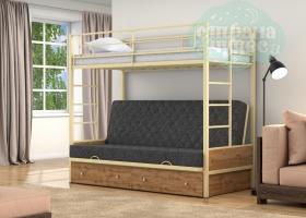 Кровать с темно-серым диваном Дакар-1, бежевая-дуб вотан