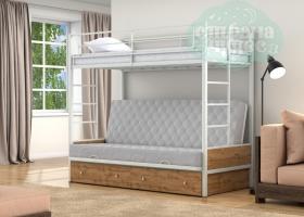 Кровать с серым диваном Дакар-1, белая-дуб вотан