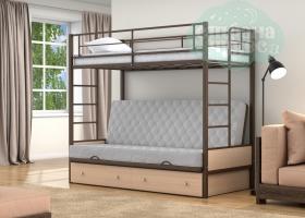 Кровать с серым диваном Дакар-1, коричневая-дуб молочный