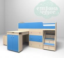 Кровать-чердак Ярофф Малыш, дуб молочный - голубой