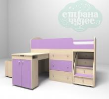 Кровать-чердак Ярофф Малыш, дуб молочный - фиолетовый
