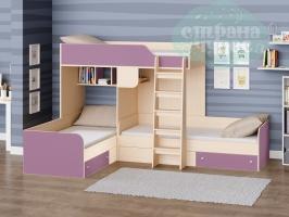 Двухъярусная кровать Трио, фиолетовая