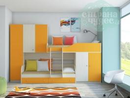 Двухъярусная модульная кровать Лео (оранжевый)