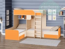 Двухъярусная кровать Трио, оранжевая