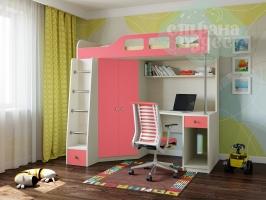 Кровать-чердак Астра 7, розовый