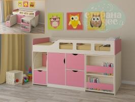 Кровать-чердак Астра 8, розовый