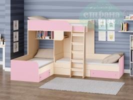 Двухъярусная кровать Трио, розовая