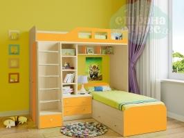 Двухъярусная модульная кровать Астра 4 (оранжевый)