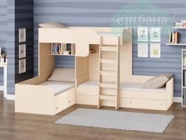 Двухъярусная кровать Трио, дуб молочный