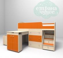 Кровать-чердак Ярофф Малыш, дуб молочный - оранжевый