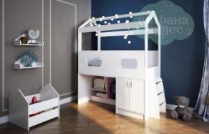 Кровать-чердак Домик со шкафом и лестницей, белая