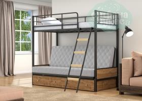 Кровать с серым диваном Дакар-2, черная-дуб вотан
