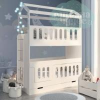 Кровать Домик двухъярусная с лестницей сбоку