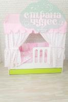 Текстиль для кровати-домика, розовый