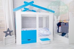Кровать-домик Теремок с ящиком и ступенькой, голубая
