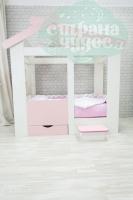 Кровать-домик Теремок с ящиком и ступенькой, розовая