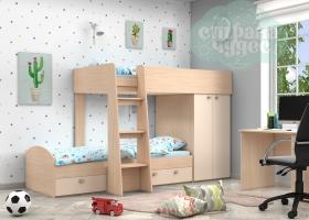 Кровать двухъярусная GK 2, дуб молочный-бежевый
