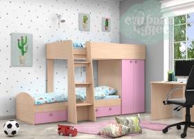 Кровать двухъярусная GK 2, дуб молочный-розовый