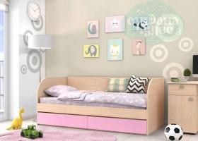 Кровать детская GK 7, дуб молочный-розовая