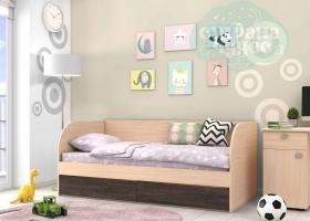 Кровать детская GK 7, дуб молочный-венге