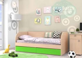 Кровать детская GK 7, дуб молочный-зеленый