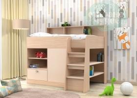 Кровать-чердак GK 9, дуб молочный-бежевый