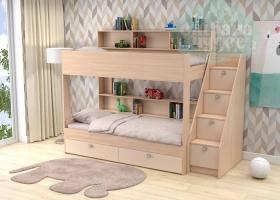 Двухъярусная кровать GK 10, дуб молочный-бежевая