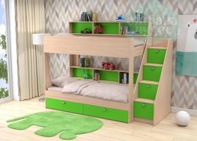 Двухъярусная кровать GK 10, дуб молочный-зеленая